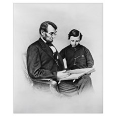 Lincoln Reading to Son Tod Framed Print