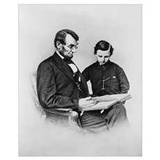 Lincoln Reading to Son Tod Poster