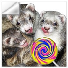 Ferrets with Lollipop Wall Decal