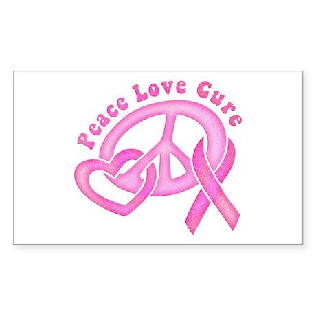 Peace Love Cure Sticker (Rectangle)