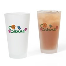 Sienna Flowers Drinking Glass