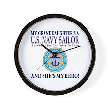 Navy Granddaughter My Hero Wall Clock