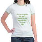 Pregnant - Suprise - July Jr. Ringer T-Shirt