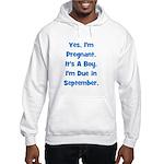 Pregnant w/ Boy due September Hooded Sweatshirt