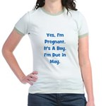 Pregnant w/ Boy due in May Jr. Ringer T-Shirt