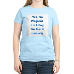 Pregnant w/ Boy due January Women's Pink T-Shirt