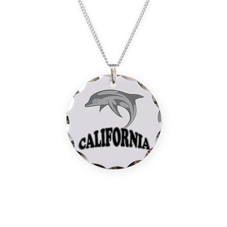 California Dolphin Souvenir Necklace Circle Charm
