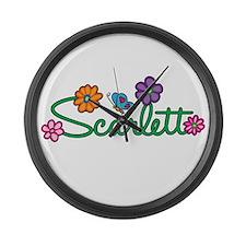Scarlett Flowers Large Wall Clock