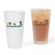Savannah Flowers Drinking Glass