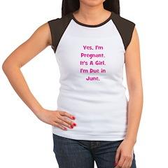 Pregnant w/ Girl due June Women's Cap Sleeve T-Shi
