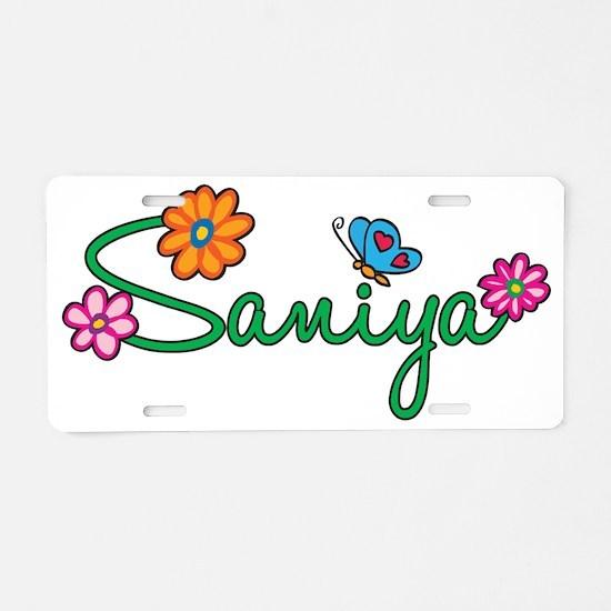 Saniya Flowers Aluminum License Plate