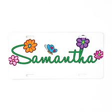 Samantha Flowers Aluminum License Plate