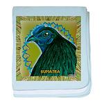 Framed Sumatra Rooster baby blanket