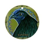 Framed Sumatra Rooster Ornament (Round)