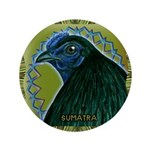 """Framed Sumatra Rooster 3.5"""" Button"""