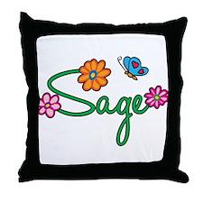 Sage Flowers Throw Pillow