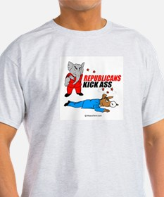 Republicans kick ass -  Ash Grey T-Shirt