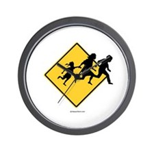 Caution: Illegal Immigrant Crossing -  Wall Clock
