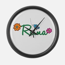 Reina Flowers Large Wall Clock