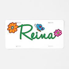 Reina Flowers Aluminum License Plate