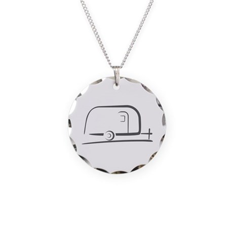 Airstream Silhouette Necklace Circle Charm
