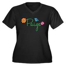 Paige Flowers Women's Plus Size V-Neck Dark T-Shir
