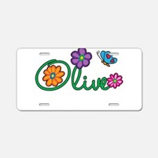 Olive Flowers Aluminum License Plate