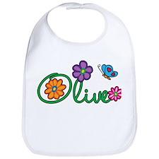 Olive Flowers Bib