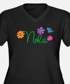 Nola Flowers Women's Plus Size V-Neck Dark T-Shirt