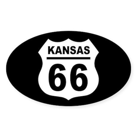 Route 66 Kansas Sticker (Oval)
