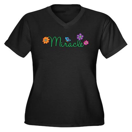 Miracle Flowers Women's Plus Size V-Neck Dark T-Sh