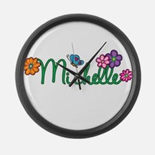 Michelle Flowers Large Wall Clock