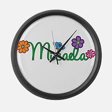 Micaela Flowers Large Wall Clock
