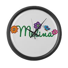 Melina Flowers Large Wall Clock
