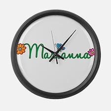 Marianna Flowers Large Wall Clock