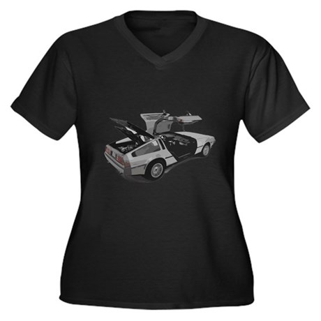 Delorean Women's Plus Size V-Neck Dark T-Shirt