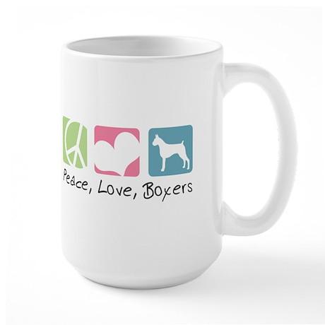 Peace, Love, Boxers Large Mug
