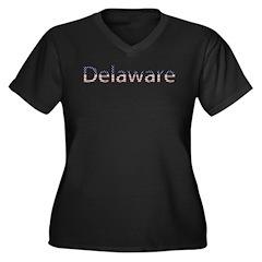 Delaware Stars and Stripes Women's Plus Size V-Nec