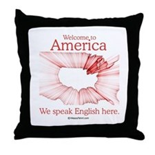 We speak English here -  Throw Pillow