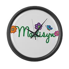 Madisyn Flowers Large Wall Clock