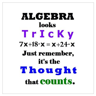 ALGEBRA looks TRICKY - THOUGHT that COUNTS Mini Po Poster