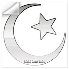 Silver Star and Crescent Wall Decal