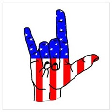 I Love USA Sign Language hand Poster