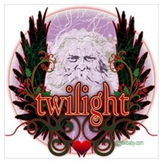 Twilight Santa Winged Crest Wreath Poster
