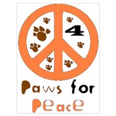 Paws for Peace Orange Poster