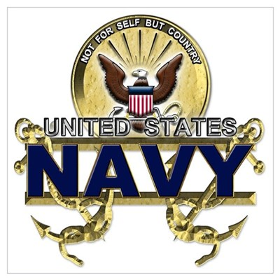 US Navy Gold Anchors Poster