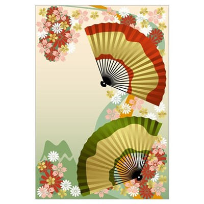 Japanese Fan green Canvas Art