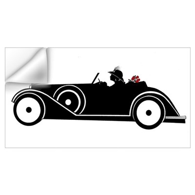 Racing Car and Roses Wall Decal