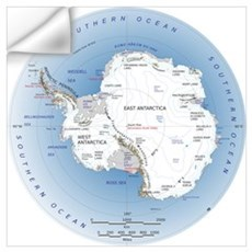 Antarctica Labeled Map Wall Art Wall Decal