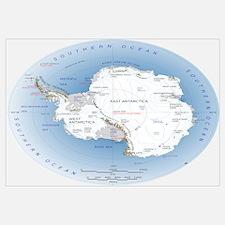Antarctica Labeled Map Wall Art